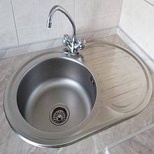 Кухонная мойка Platinum 7750 Satin 0,6мм овальная