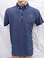 Синяя хлопковая футболка -поло