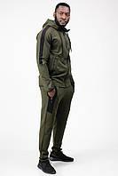 Спортивный костюм мужской тонкий (весна-лето-осень) c капюшоном хаки