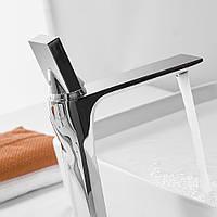 Смеситель дизайнерский для раковины кран в ванну однорычажный WanFan люкс качества хром