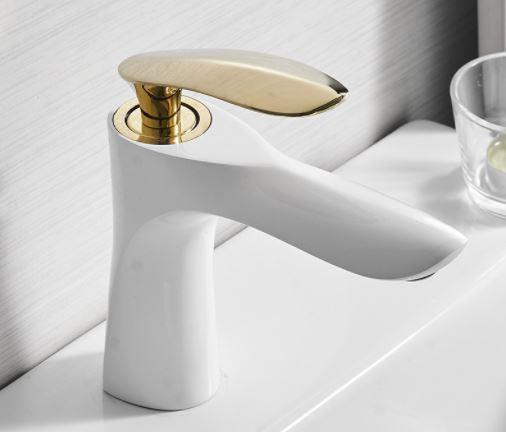 Одинважільний змішувач для умивальника кран горизонтальний монтаж WanFan для ванни Білий-золото