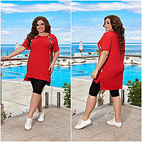 Літній жіночий прогулянковий костюм з подовженою футболкою і лосинами (Батал), фото 6