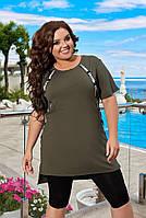 Літній жіночий прогулянковий костюм з подовженою футболкою і лосинами (Батал), фото 7