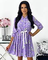 Літнє вільне плаття-сорочка з пишною спідницею, фото 1