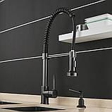 Змішувач кухонний висувний злив кран два режими води обертається на 360 градусів WanFan Чорний, фото 3