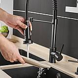 Змішувач кухонний висувний злив кран два режими води обертається на 360 градусів WanFan Чорний, фото 4