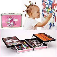 Набор для детского творчества в чемодане с единорогом 144 предмета Розовый