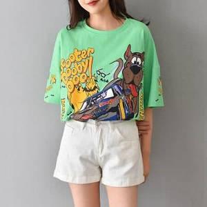 Яркая стильная футболка оверсайз с принтом Скуби Ду 42-46 р
