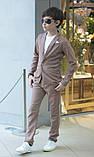Дитячий брючний костюм піджак і штани льон сірий коричневий розмір: від 116 до 146-152, фото 8