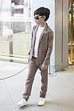 Дитячий брючний костюм піджак і штани льон сірий коричневий розмір: від 116 до 146-152, фото 9