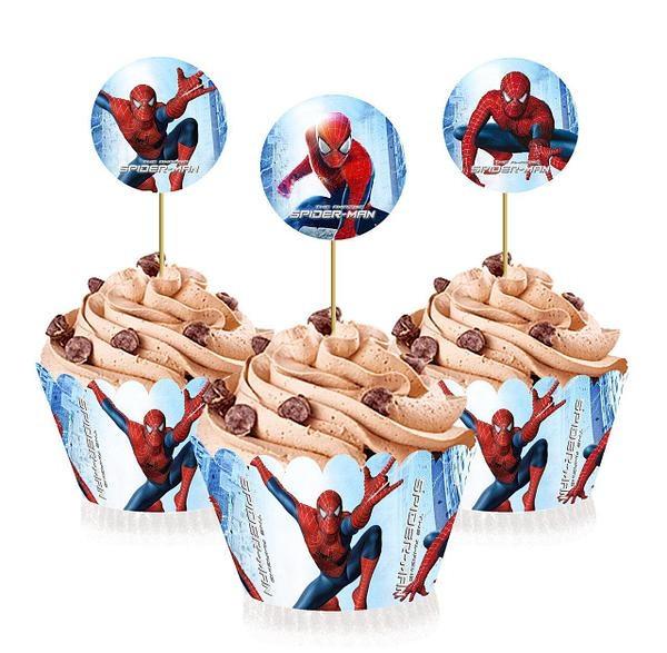 Топпери для капкейків Людина Павук 6 кошиків т 6 топперов