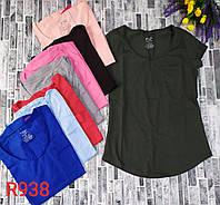 Футболка однотонная горло-овал для девушек норма размер 42-48,цвет уточняйте при заказе