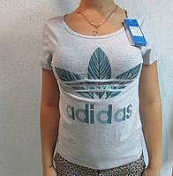 Футболка женская серая Adidas (1806-2)  код 83д