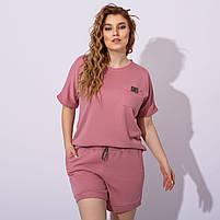 Женский летний спортивный костюм с шортами и футболкой в расцветках (Батал), фото 2