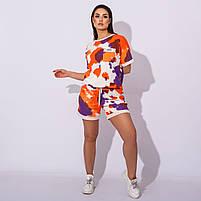 Женский летний спортивный костюм с шортами и футболкой в расцветках (Батал), фото 4