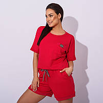 Женский летний спортивный костюм с шортами и футболкой в расцветках (Батал), фото 6