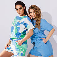 Жіночий літній спортивний костюм з шортами і футболкою в кольорах (Батал), фото 2