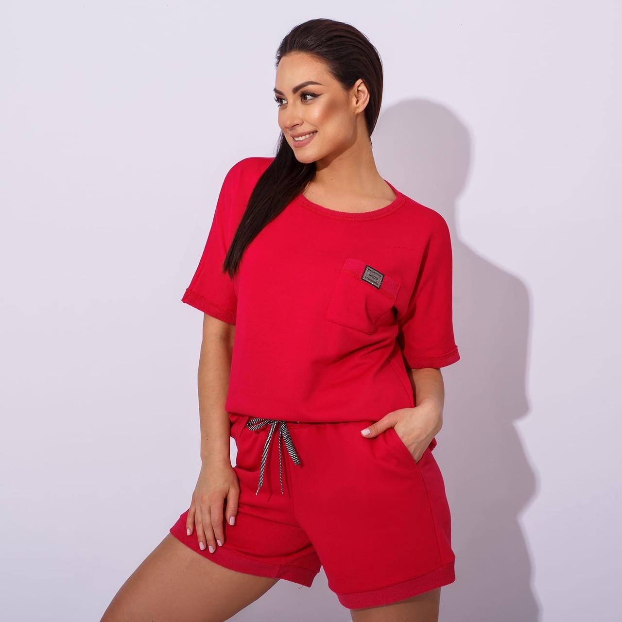 Жіночий літній спортивний костюм з шортами і футболкою в кольорах (Батал)