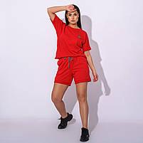 Жіночий літній спортивний костюм з шортами і футболкою в кольорах (Батал), фото 7