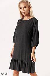 Повседневное платье свободного кроя темно-серое