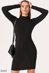 Облегающее платье-водолазка из трикотажа черное