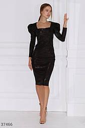 Вечернее платье миди с квадратным вырезом черное