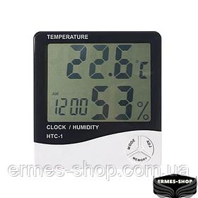 Цифровий термометр-гігрометр LCD HTC-1 з годинником і будильником