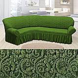 Натяжні чохли на кутові дивани накидка, еврочехол на кутовий диван Всі кольори Бежевий жакардовий з оборкою, фото 9