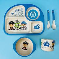 Бамбуковая посуда для детей пираты Bamboo fibre kids set