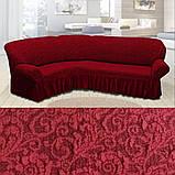 Натяжні чохли на кутові дивани накидка, еврочехол на кутовий диван Всі кольори Бежевий жакардовий з оборкою, фото 10