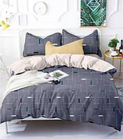 Комплект постельного белья  Страйк серый, черта, геометрия, ткань микрофибра