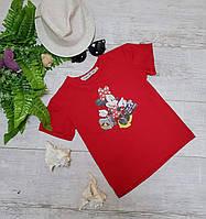 Подростковая футболка MINNIE для девочек 7-11 лет,цвет красный
