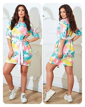 Жіноче літнє повсякденне плаття з поясом в комплекті (Батал)