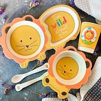Бамбуковая посуда для детей Лев Bamboo fibre kids set