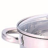 Каструля з кришкою з нержавіючої сталі Benson BN-220 (4,5 л)   набір посуду Бенсон   каструлі Бэнсон, фото 2
