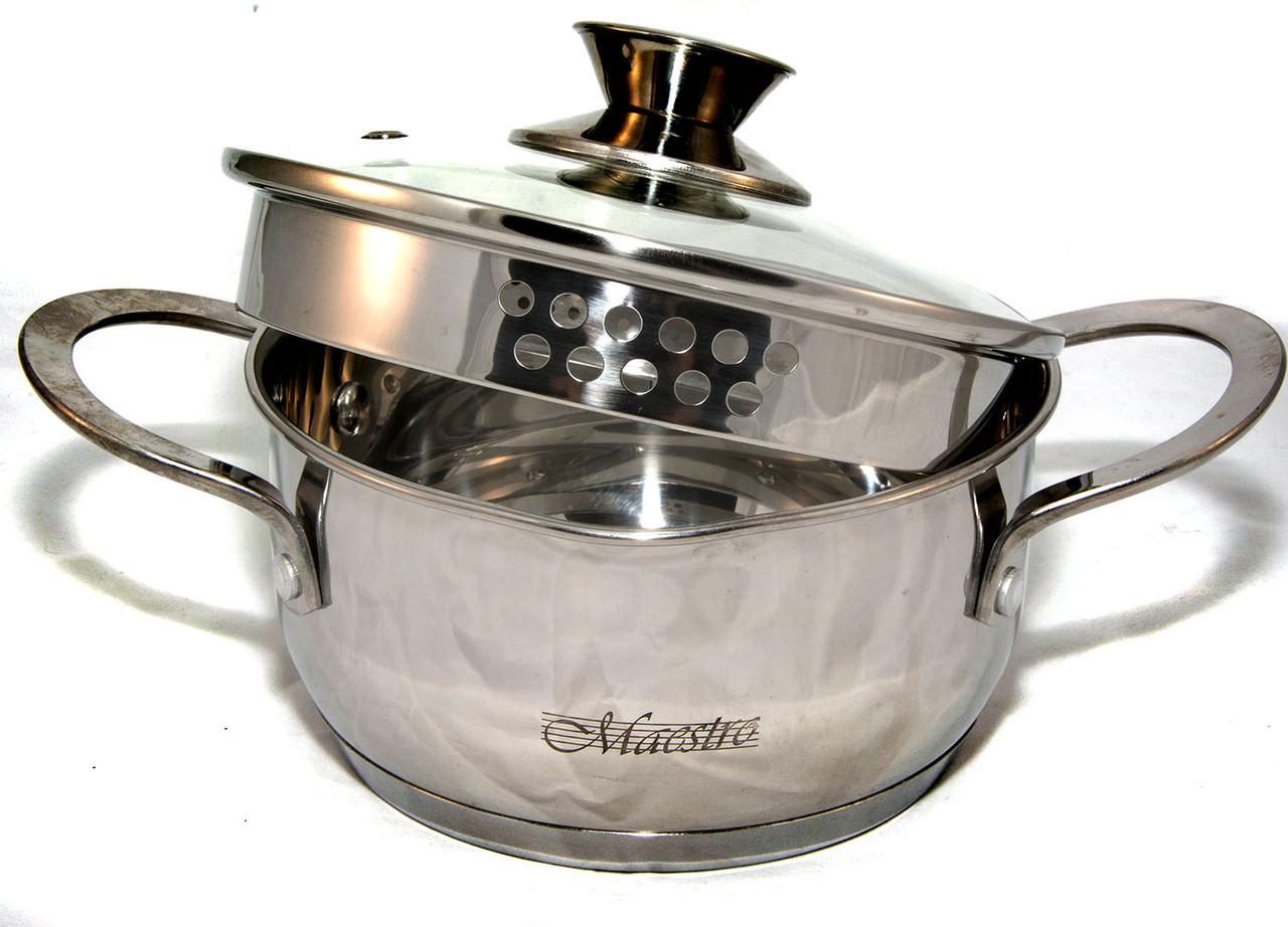 Набор посуды Maestro MR-3510-6L, 6 предметов, нержавеющая сталь   кастрюли с крышками Маэстро, Маестро