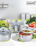 Набор посуды Maestro MR-3510-6L, 6 предметов, нержавеющая сталь   кастрюли с крышками Маэстро, Маестро, фото 3