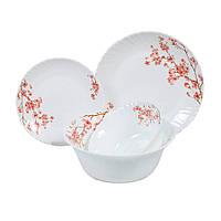 """Столовий набір """"Рожеві квіти"""" Maestro MR-30056-19S (19 пр)   кухонні тарілки Маестро   набір тарілок Маестро"""