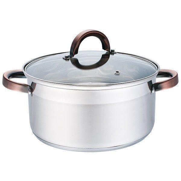 Каструля з кришкою з нержавіючої сталі Maestro MR-3518-26 (7 л) | набір посуду Маестро | каструлі Маестро