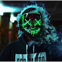 """Світиться неонова LED маска """"Судно ніч"""" фіолетова   лід маска для вечірок світиться неоном в темряві"""