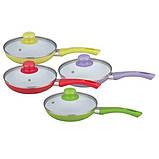 Сковорода антипригарна з кришкою Maestro MR-1201-28 зелена | сковорідка Маестро, сотейник Маестро, фото 3