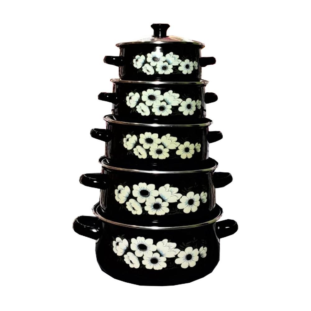 Набор эмалированных кастрюль с крышками Benson BN-079 черный (10 предметов)   кастрюля Бенсон, Бэнсон
