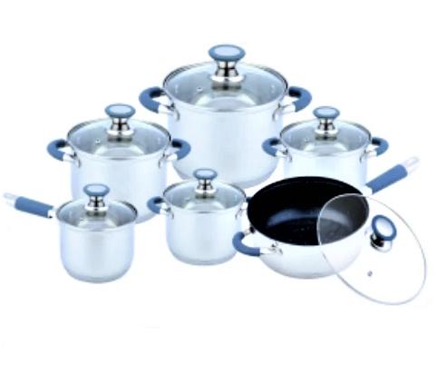 Набір каструль з нержавіючої сталі 12 предметів Benson BN-193 (+ківш, сковорода)   каструля Бенсон