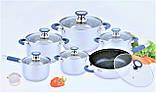 Набір каструль з нержавіючої сталі 12 предметів Benson BN-193 (+ківш, сковорода)   каструля Бенсон, фото 2