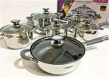 Набір каструль з нержавіючої сталі 12 предметів Benson BN-193 (+ківш, сковорода)   каструля Бенсон, фото 4