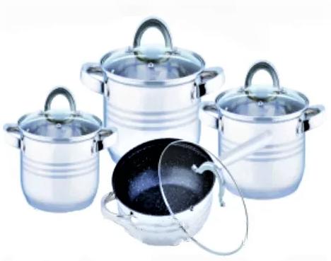 Набір каструль з нержавіючої сталі 8 предметів Benson BN-194 (+ сковорода) | каструля Бенсон