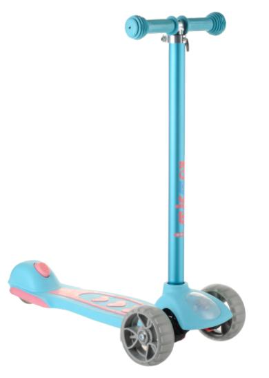 Самокат детский Micmax 08N бирюзовый до 60 кг   четырехколесный самокат Микмакс с фонариком и подсветкой колес