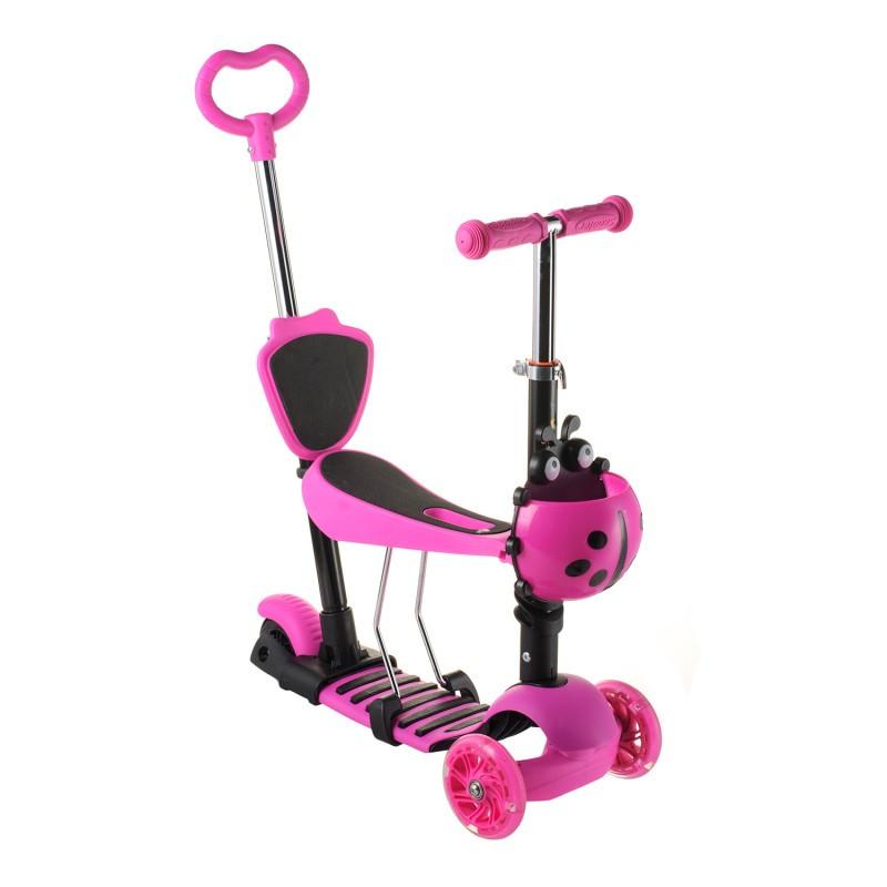 Беговел Scooter 18-1 от 1 года розовый | трехколесный самокат с корзинкой, сидением и родительской ручкой
