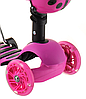Беговел Scooter 18-1 от 1 года розовый | трехколесный самокат с корзинкой, сидением и родительской ручкой, фото 5