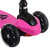 Самокат дитячий SF508 рожевий до 60 кг | триколісний міні самокат з світяться PU колесами і гальмами, фото 3